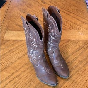 cowgirl boots with golden brown stitching